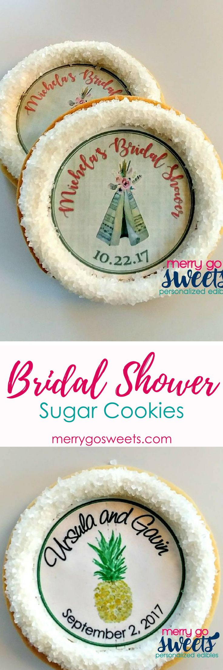 Make your bridal shower extra special with these personalized sugar cookies.  Wedding Cookies | Cookie Decorating | Sweet Treats | Cookies | Party Desserts | Decorations  #sugarcookies #cookiedecorating #sweettreats #bridalshower #weddingdesserts