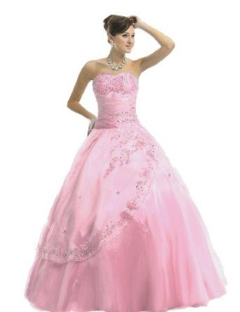 Faironly Strapless Pink Formal Prom Quinceanera Dress,