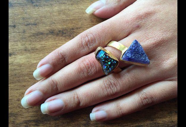 Anillos - Druzy anillo azul, Anillo de cóctel, - hecho a mano por AccessorizeMoi en DaWanda #DaWanda #Bisutería #Joyería #anillos #Collares #Pulseras #Broches #Jewelry #DIY #Diseño #Hechoamano