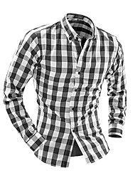 Camisa De los hombres Casual / Trabajo / Formal Cuadros Escoceses - Otros - Manga Larga