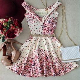 Vestido NEOPRENE C/ Bojo Princesa Milena ( Estampa Mini corações Rosa)