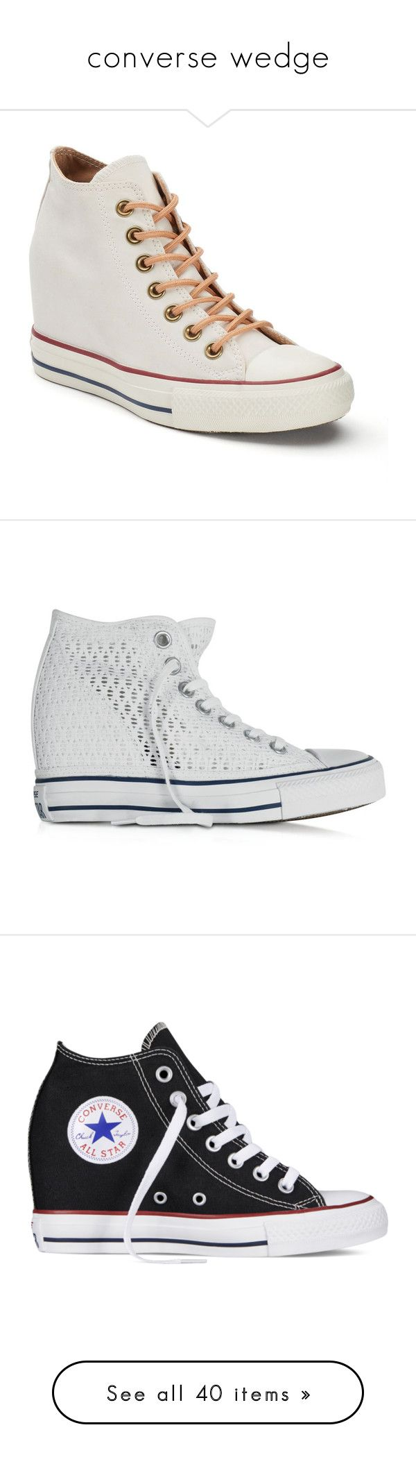 """""""converse wedge"""" by lulucosby ❤ liked on Polyvore featuring shoes, sneakers, lace up high top sneakers, high heeled footwear, high top trainers, high heel sneakers, high top hidden wedge sneakers, white oth, white canvas sneakers and hidden wedge shoes"""