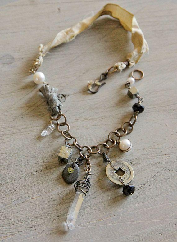 Sukhasana necklace: vintage coin, crystal point, river rock, sari silk, vintaj chain