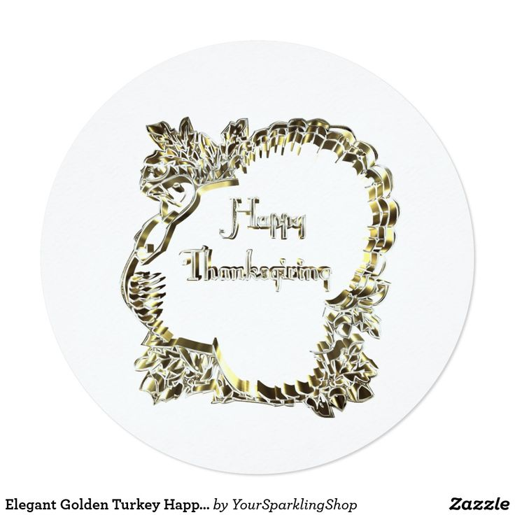 Elegant Golden Turkey Happy Thanksgiving Text