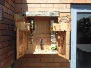 Inside the outdoor wall bar