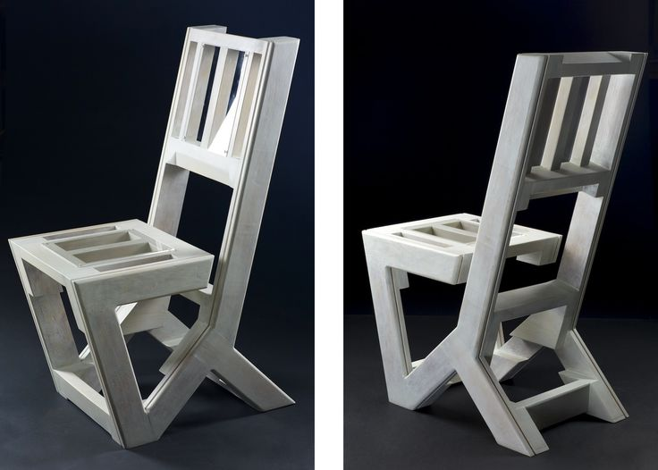 """Dirk Marwig's Gap-Chair No.6 (Fir wood from a container with plexi-glass, height: 105cm, width: 42.2cm, depth: 76.5cm, Dirk Marwig 2017) *Yet another Gap-Chair where the seat part is not directly connected to the seat back, this time constructed with wood rests from a renovation container and with plexi-glass which was also found in a bin. I designed this version with an extreme long seat back giving the bottom part a """"fold"""" with a 90 degree angle."""