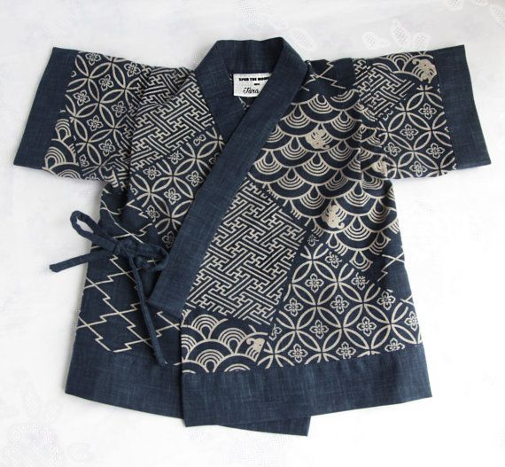 Navy Japanese Print Cotton Jinbei Set Kimono by SpurTheMoment