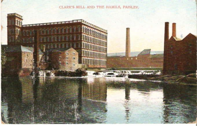 Clark's Mills, Paisley. Grandfather was born nearby in Mill Street in 1894.