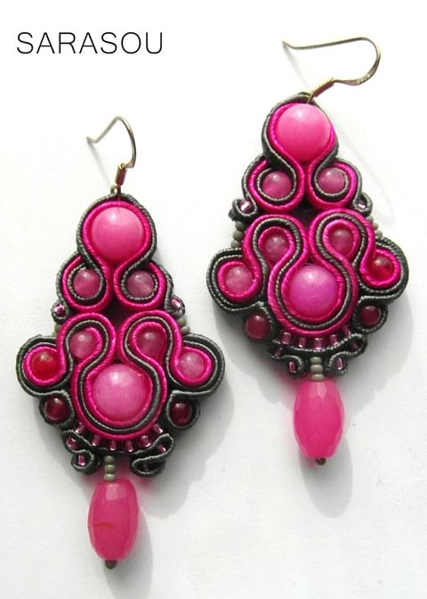 Pink jade for a chic romantic look. #Sarasou #chic #soutache #soutacheembriodery  #dangleearrings #romantic #pink #gray