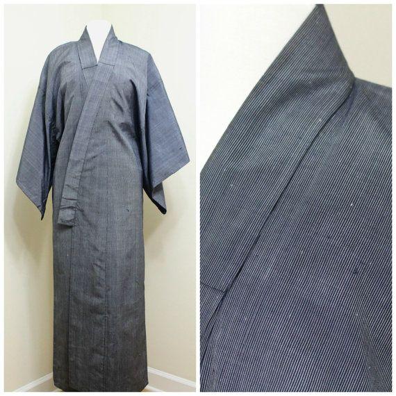 Japanese Vintage Kimono. Silk Woven Ikat Kasuri by FurugiStar