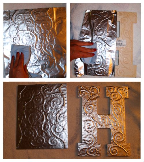 This would be a great inexpensive and creative way to do ceiling tiles or kitchen back splash ~ DIY Antiqued Foil Monograms | Something to be Savored