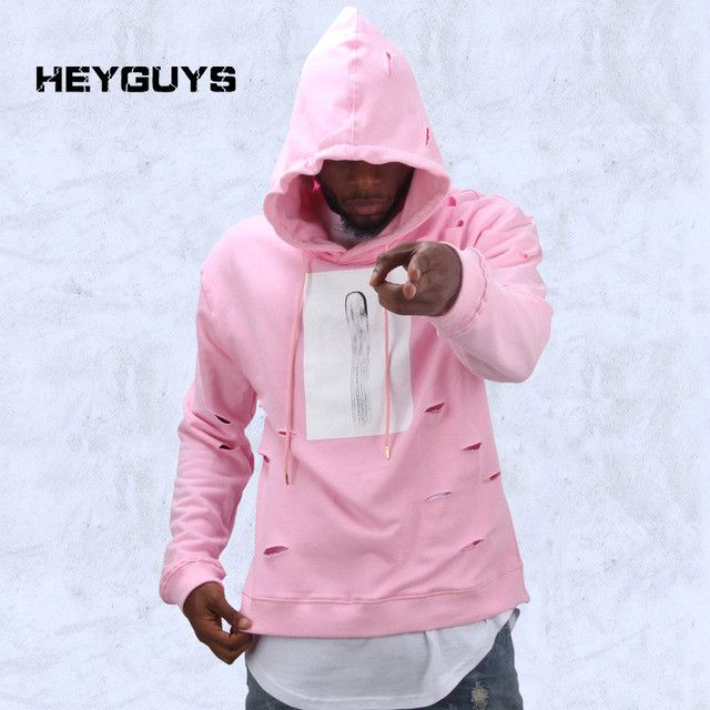 mens hip hop pink hoodies sweat suit tracksuit men with the hole hoodies men fashion set winter male streetwear