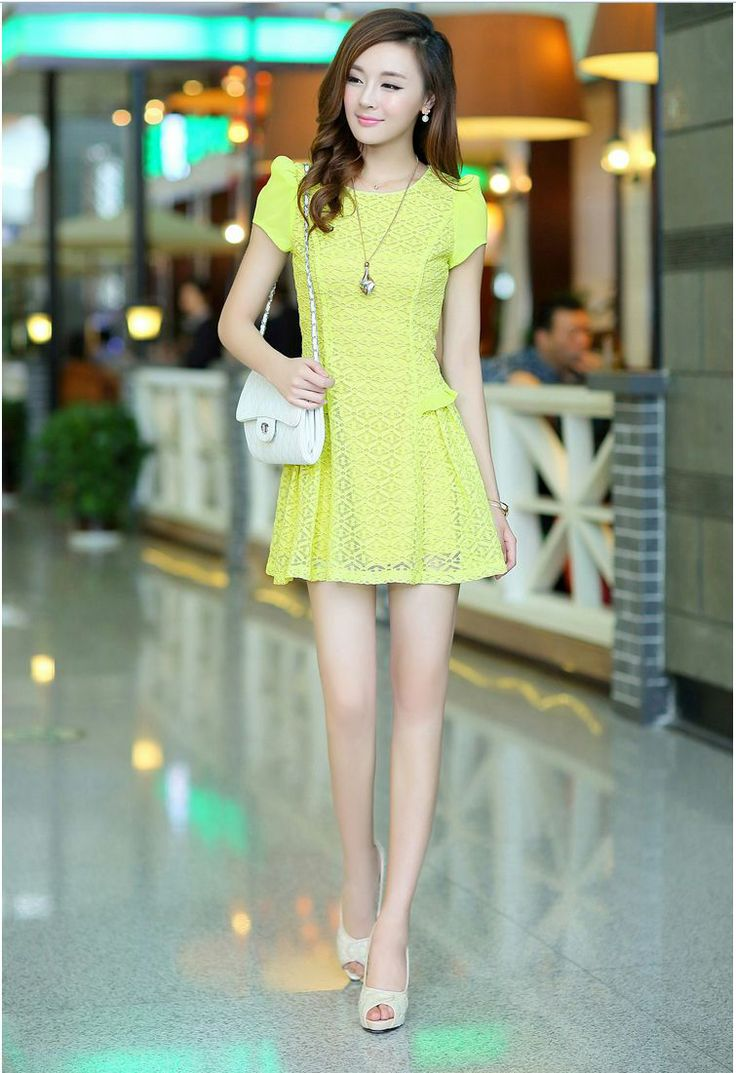 Fascinating Korean Style New Summer Hollow Slim Puff Sleeves Dress Slim Dress Dresses