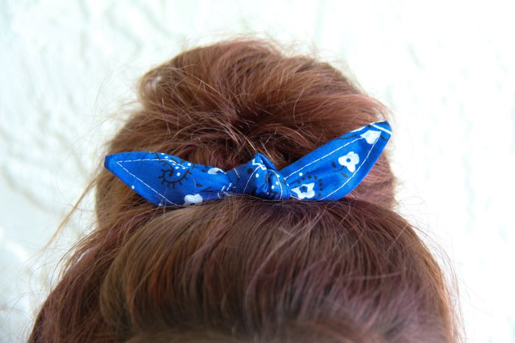 Knotted Bun Clip Hair Bows Royal Blue Bandana Hair Bow Girl Teen Women Hair Accessory French Barrette Alligator Clip Hair Ties by Lorettajos on Etsy