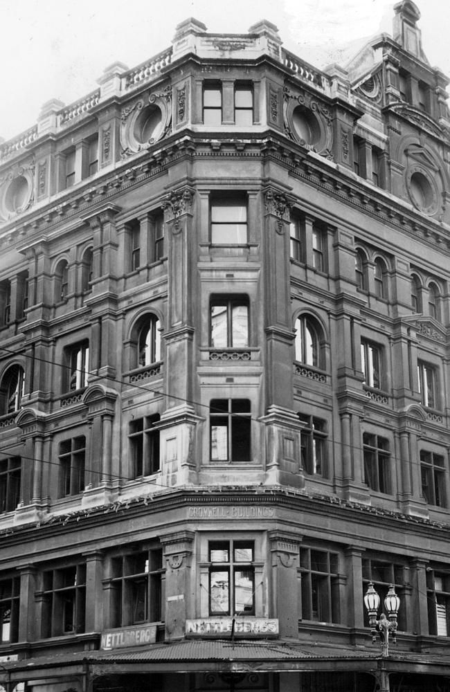 1952: The Cromwell building stood on the corner of Elizabeth and Bourke Sts. Picture: Her