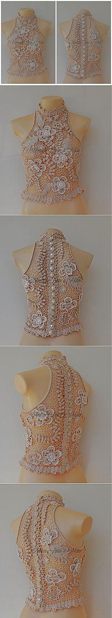 Блуза *Диана* связанная в технике ирландского кружева.