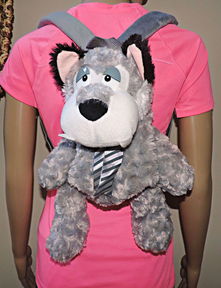 Doggiebag stuffed Animal Backpack, Fluffy Children lunch bag Toy Age 2-8yrs New #XTIROYAL