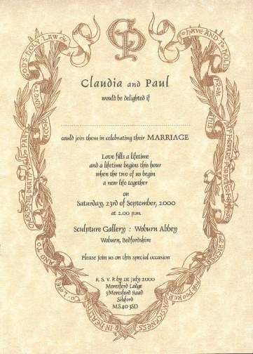 Wedding Invitation Renaissance Writing Style Wedding