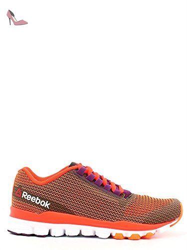 Reebok Hexaffect Storm, Chaussures de Sport Femme, Orange / Rouge / Violet  / Blanc
