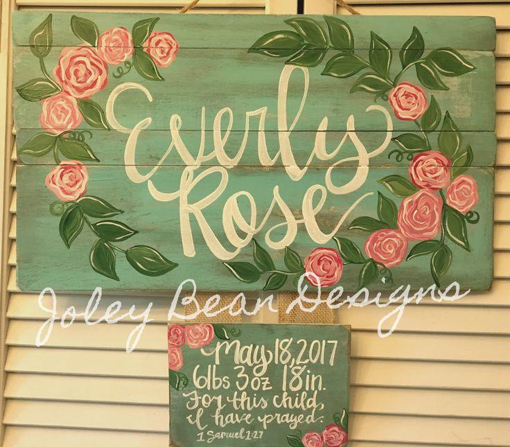 Joley Bean Designs, Floral Hospital Door Hanger, girl, Rustic