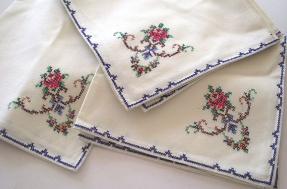 Vintage napkins 12 embroidery cross stiched roses by divasvintage, $15.00