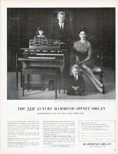 "Description: 1961 HAMMOND ORGAN vintage magazine advertisement ""wondrously new in every way"" -- The new luxury Hammond Spinet Organ (wondrously new in every way -- but one) ... The new luxury Hammond Spinet Organ in mahogany ... Hammond Organ ... music's most glorious voice -- Size: The dimensions of the full-page advertisement are approximately 10.5 inches x 13.5 inches (26.75 cm x 34.25 cm). Condition: This original vintage full-page advertisement is in Excellent Condition unless ..."