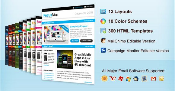 Focusmail premium newsletter template email newsletter for Www campaignmonitor com templates
