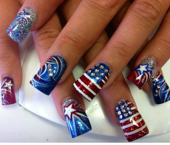 My hard working patriotic design!! Beautiful ...Glitter acrylic w/polish and diamonds