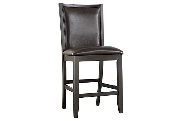 """The Trishelle 24"""" Barstool from Ashley Furniture HomeStore (AFHS.com). With a sleek straight-line contemporary design bathed in a dark espresso color finish complementing the Okoume and Ash veneers, the """"Trishelle"""" dining collection features a sleek saber leg table with inset black glass in the table top along with upholstered chairs that create a stunning furniture collection."""