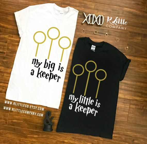 My Big / Little is a Keeper - Unisex Black and white Tees, Long Sleeves and Tank S-XXL // Big Little Reveal // Sorority Shirts // Harry Potter Big Little