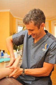 Chiropodist Tony Abbott is able to manipulate the joints of the feet with his hands in order to relieve stress from the affected areas in the feet.