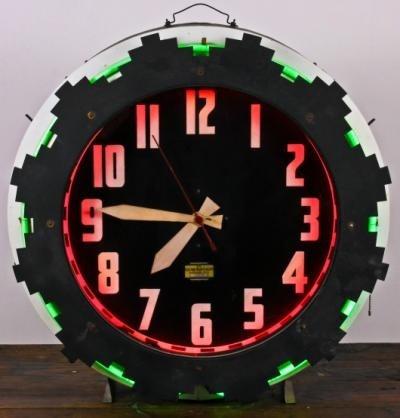 1930s Quot Aztec Quot Neon Clock Neon Clock Aztec Art Art Deco Fashion