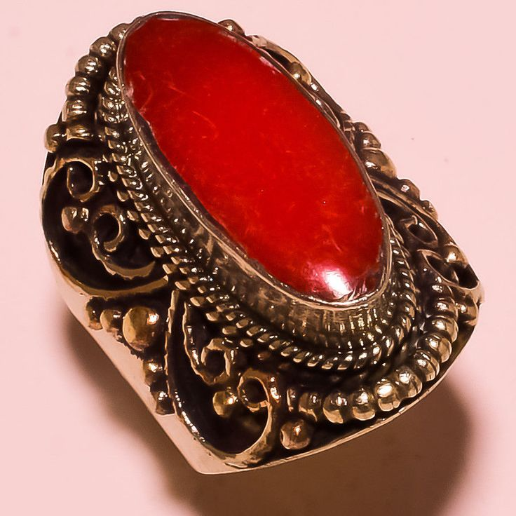 Trendy Looks Red Coral Stylish Looks Ebay Store Jewelry Gemstone Ring Size-8'' #Handmade #Cluster