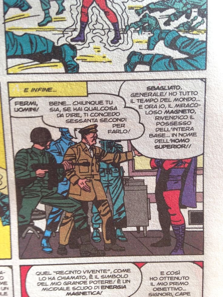 Be careful to have the space for the baloons in a panel --------- bisogna tenere conto che anche i baloon occupano spazio nella vignetta --------- X-men (Stan Lee & Jack Kirby)