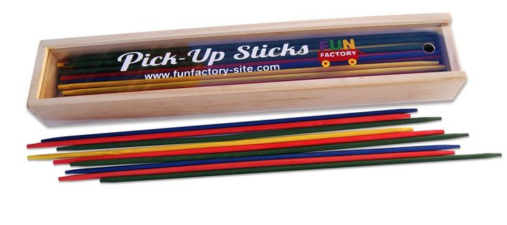 Wooden Pick up Sticks - $5.50 One of the classics! Coloured Wooden Pick up stick in lovely storage case 3yrs +