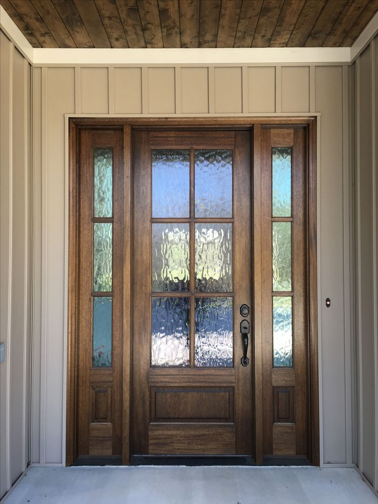 Mahogany front door with privacy glass. See more pictures on instagram @buildingbulleycreek