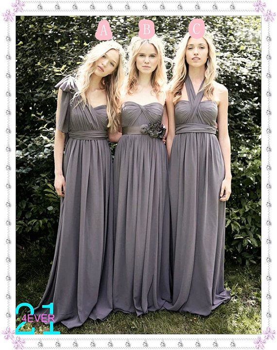 Bridesmaid dress grey, love the different styles !
