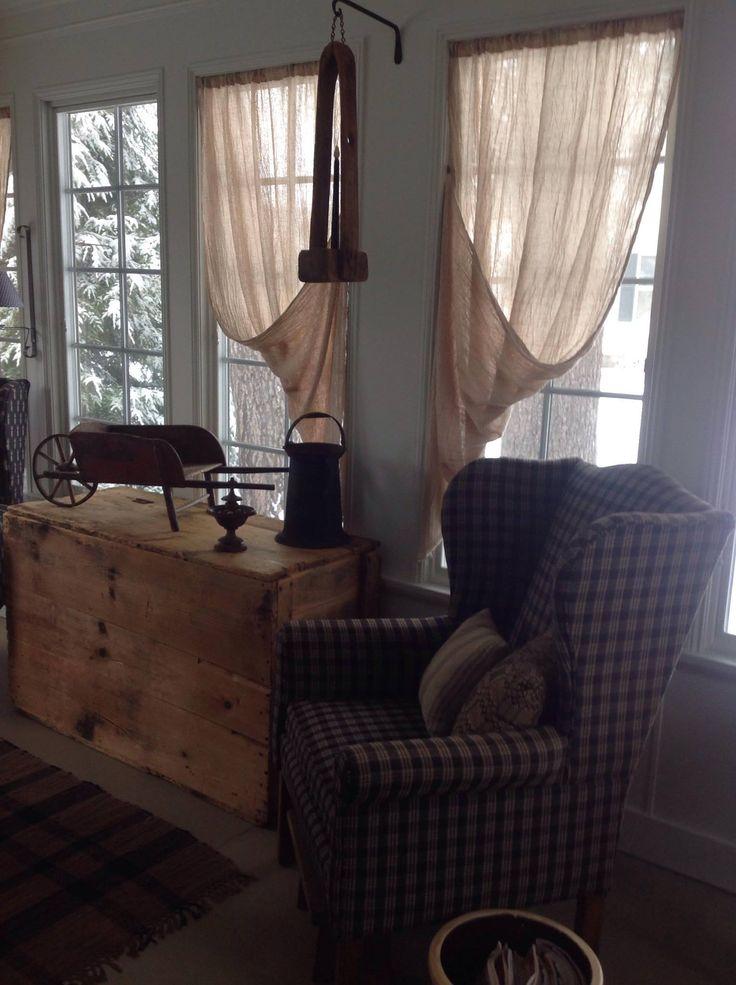 901 best prim living images on pinterest primitive decor primitive living room and primitive - Primitive curtains for living room ...