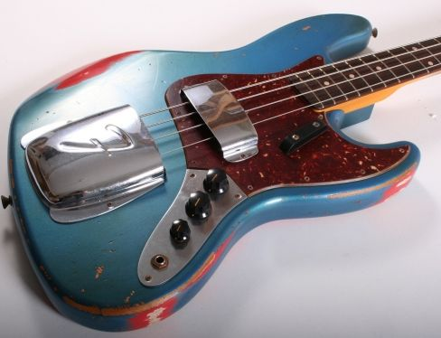 "Fender Custom Shop '61 Jazz Bass Heavy Relic (Lake Placid Blue over Fiesta Red) - A stunning custom order '61 inspired by fellow Sussex resident's and legendary bass player extraordinaire Herbie Flowers own Jazz Bass! Featuring an Alder body, quartersawn Maple neck with 'C' profile, slab Rosewood fingerboard with 7.25"" radius and clay dots and Custom Shop Jazz Bass pickups. A real beauty! £2699 #fender #customshop #jazz #bass #bassguitar #guitar #vintage #relic"