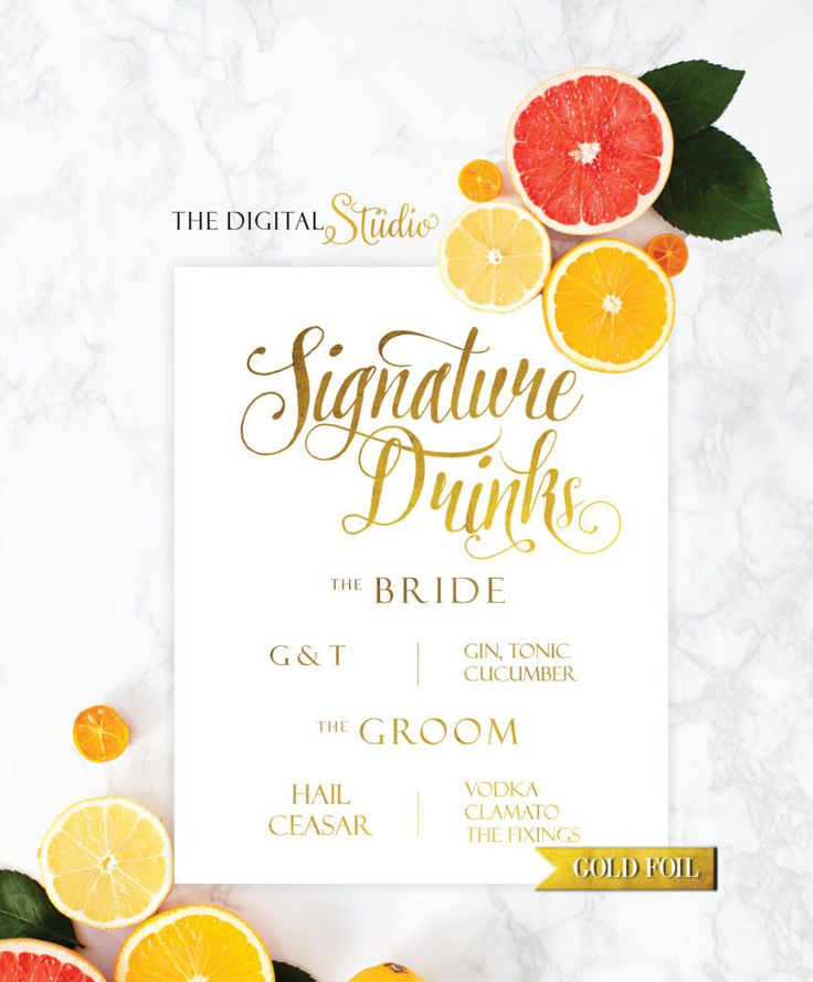 Signature Drinks, Wedding Signs, White and Gold Foil Print, Wedding Reception, Wedding Drink Sign, Signature Drinks by TheDigitalStudio on Etsy https://www.etsy.com/listing/246098285/signature-drinks-wedding-signs-white-and
