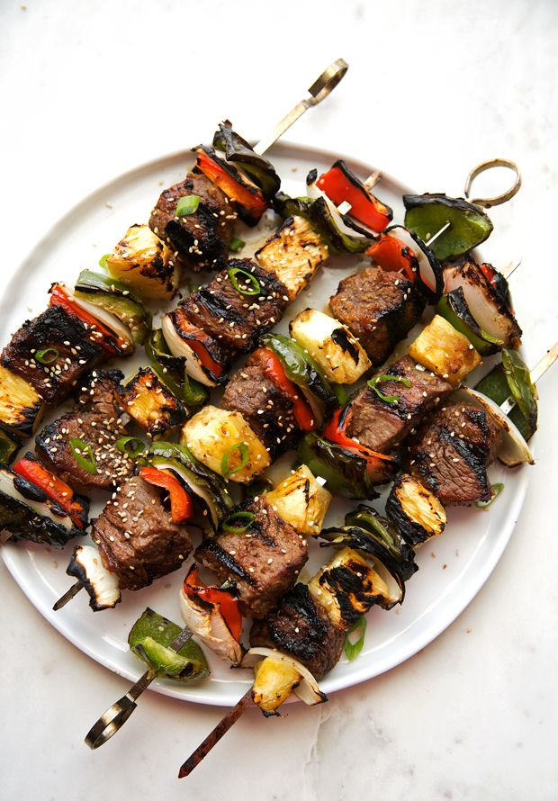 Korean beef kabobs (beef bulgogi) simple marinated steak made into kabobs with onions, peppers, and pineapple. Korean BBQ skewers are easy and delicious.