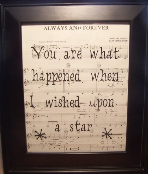 Sheet music in a frame with quote cut in vinyl lettering, so easy no?
