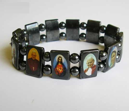 Bracciale ematite con immagini dei santi
