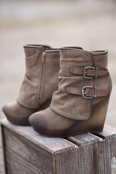 Double Buckled Wedge Booties (Taupe). I'm in love!
