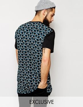 Reclaimed Vintage Extreme Longline T-Shirt With Geo Back Panel
