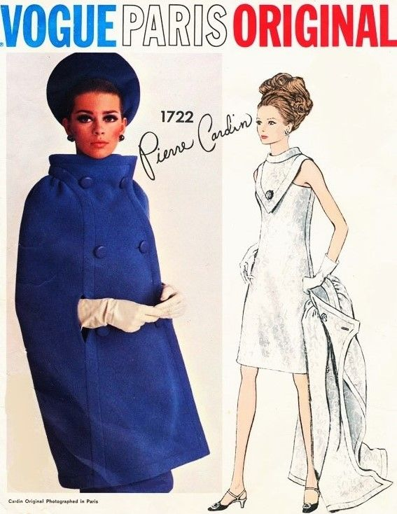 1960s Stunning PIERRE CARDIN Cocktail Party Dress and Cape Coat Pattern VOGUE PARIS Original 1722 Unique V Shape Plastron With Standing Collar Mod Dress Bust 34 Vintage Sewing Pattern FACTORY FOLDED