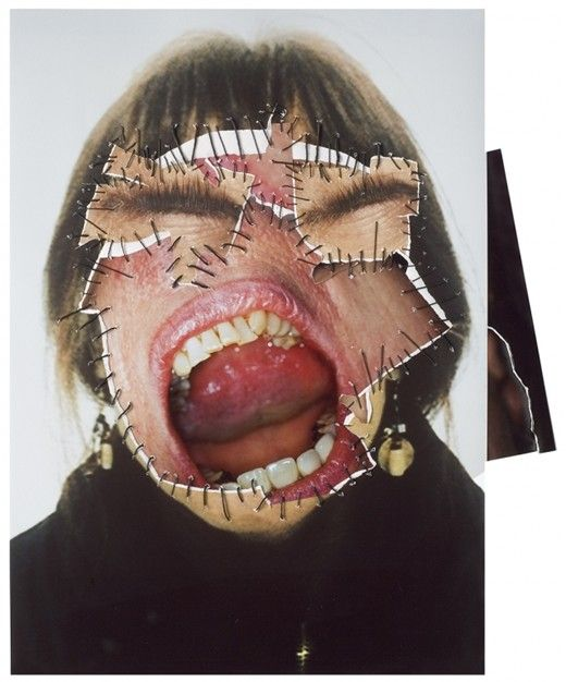 Annegret Soltau German artist Annegret Soltau constructs collage using photographs of her own face and body, stitched with black thread, con...