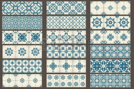 Set 2 van 18 Classic naadloze sjablonen van Marokkaanse tegels ornamenten voor keuken blauw STIJL Stockfoto