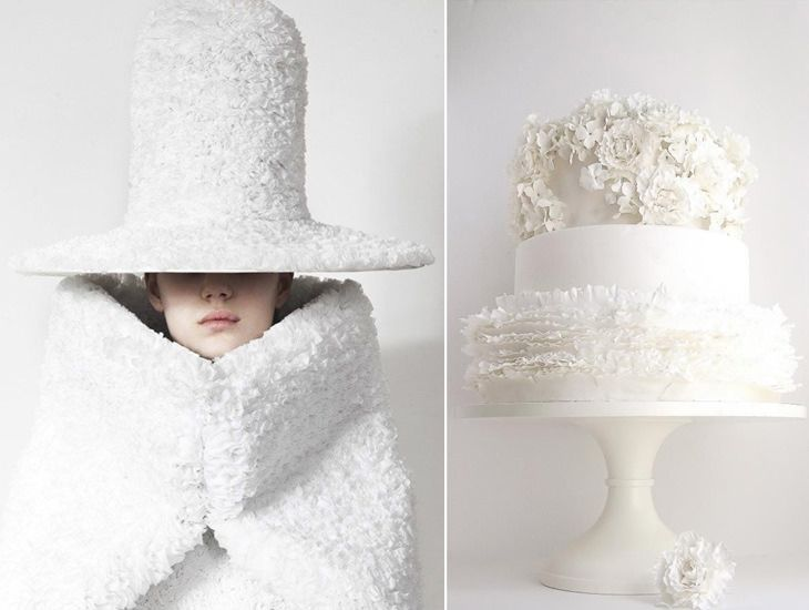 post 77 - Sweets and Outfits / Delicious match - creative combinations between desserts and fashion    #fashion #desserts #sweets #outfits #delicious #combination #style #creative #white #palette #colour #hat #cake #wedding