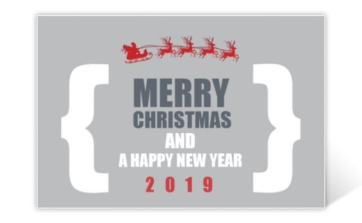 Modern Christmas card in grey, white and red